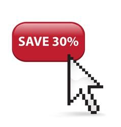 Save 30 Button Click vector