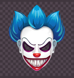 Scary evil clown mask on the transparent vector