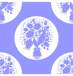 Seamless pattern with silhouettes of tulips vector image