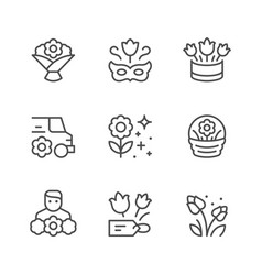 Set line icons flower vector