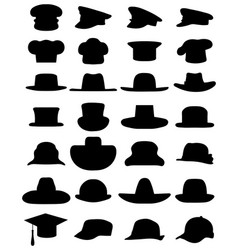 Silhouettes various caps and hats vector