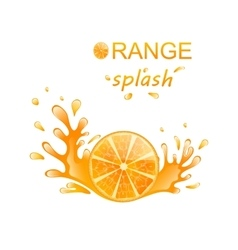 Slice of Orange with Splashing vector image