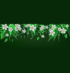 Spring or summer floral border with white apple or vector