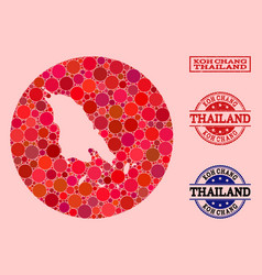 Stencil round map koh chang mosaic and grunge vector
