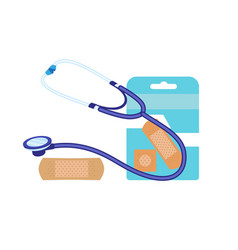 Stethoscope medical patch icon flat style vector