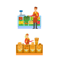 Supermarket bakery and fruits department vector