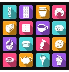 Sweets flat icons set vector