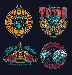 Tattoo salon colorful labels set vector