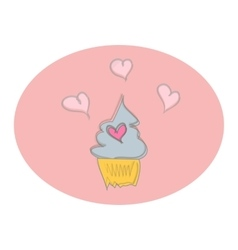 Valentine day love sweet cupcake doodle vector