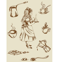 Vintage tea and coffee vector image