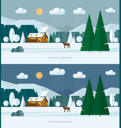 winter landscape banners snowy village and nature vector image