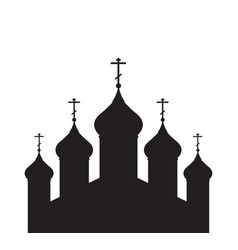 with a silhouette of the orthodox church for vector image