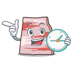 With clock pork lard character cartoon vector