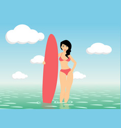 woman surfer stay in sea water vector image