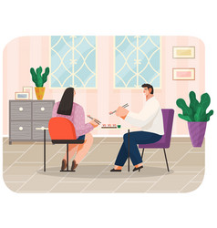 young couple eating sushi in restaurant together vector image