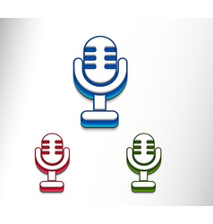 3d glossy mic icon vector image