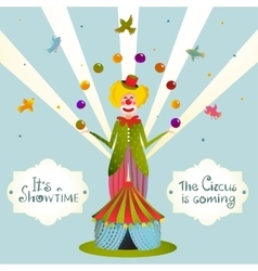 Circus Juggling Clown Carnival Show Vintage Poster vector image