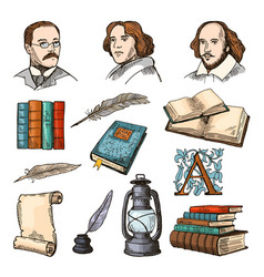 colored symbols of literature and theatre doodle vector image vector image