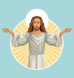 jesus christ religious stamp vector image