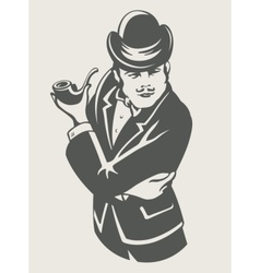 retro man in suit with pipe vector image