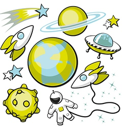Set of Space Objects vector image vector image