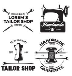 set of vintage tailor labels emblems and designed vector image vector image