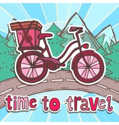 Travel poster with bicycle vector image