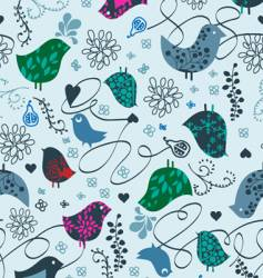 birds and hearts seamless vector image vector image