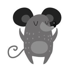 Cartoon smiling gray hand drawn mouse arms vector image