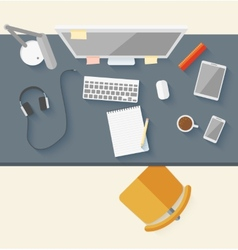 Concept of modern business workspace in flat vector image