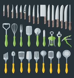 flat kitchenware cutlery tools set vector image vector image