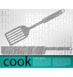 Frying pan kitchen utensils vector image vector image