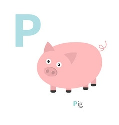 Letter P Pigt Zoo alphabet English abc with vector image
