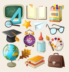 Set of school items vector image vector image