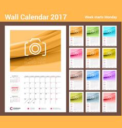 Wall calendar planner template for 2017 year set vector