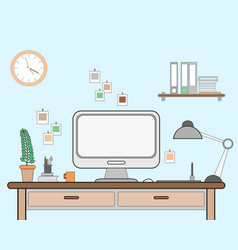 workspace for freelancer with vector image