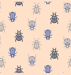 blue line style beetle seamless pattern for vector image vector image