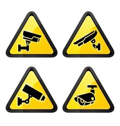 CCTV triangular labels set symbol video vector image
