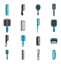 Comb Icons Flat Set vector image