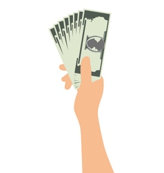Hand Holding Money Isolated On White Background vector image vector image