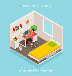 isometric home office workplace concept freelance vector image vector image