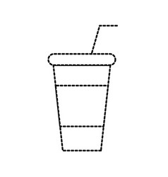 paper cup soda straw cola drink fresh cold vector image