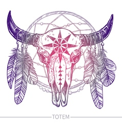 Buffalo Skull With Feathers And Dreamcatcher vector image