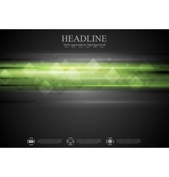 Dark green tech background with squares vector