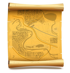Paper Scroll with Map vector image vector image