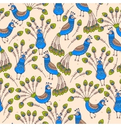 Seamless peacocks vector image