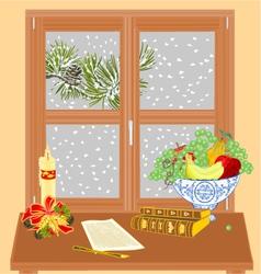 Winter window manuscript and rare books vector image vector image