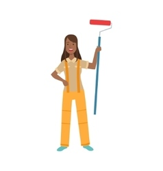 Woman home painter with painting roll part of vector