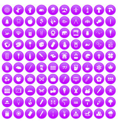 100 eco design icons set purple vector
