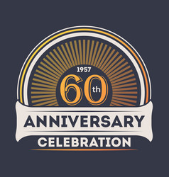 60th years anniversary celebration sticker vector